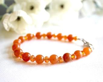 Orange aventurine and Crystal beads bracelet