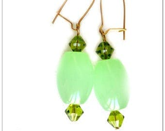 Oval earrings green Mint and Crystal bicones