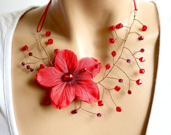 Fancy Red flowering branch necklace.