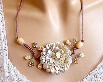 Faux leather champagne color Flower necklace