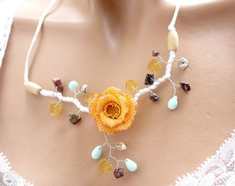 Jewelry orange necklace Camellia flower cold porcelain.