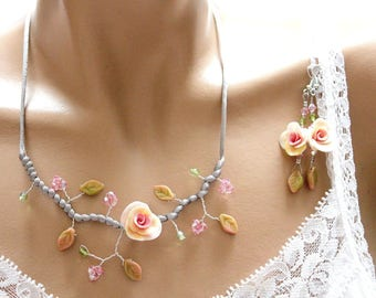 Pink flowered tenderness this jewelry set
