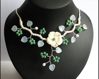 White and green Freshwater Pearl Flower necklace