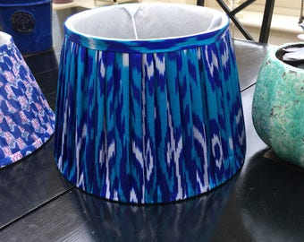 "Cobalt blue silk ikat lampshade 14"""