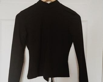 Mock Neck Shirt with Open Back