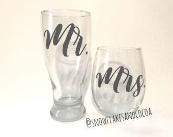 Mr. and Mrs. Beer and Wine Glass Set - His and Hers Glasses - Wedding Gift