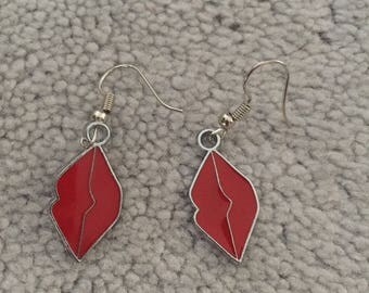 NEW red lip charm dangly earrings