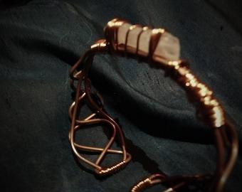 Clear Quartz & Copper Bracelet, Holistic Bracelet, Artisan bracelet (SB16)