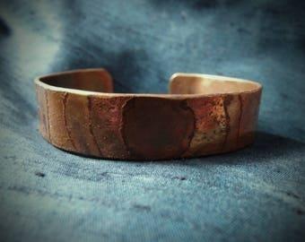 Artisan Bracelet, Etched copper, Cuff bracelet(WB60)