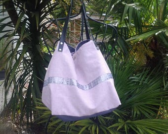 Pink Purple cotton tote bag