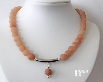 Stylish light orange aventurine gemstone necklace