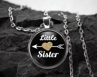 Little Sister Glass Pendant sister necklace sister jewelry sister gift photo pendant art photo jewelry art jewelry silver glass jewelry