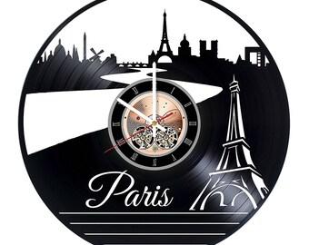 Paris Vinyl Record Wall Clock gift idea wall art decor