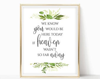 We Know You Would Be Here Today If Heaven Wasn't So Far Away Wedding Memorial Sign for Wedding Instant Download DIY 8x10, 5x7, 4x6 Greenery