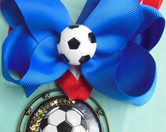 Soccer Layered Boutique Bow