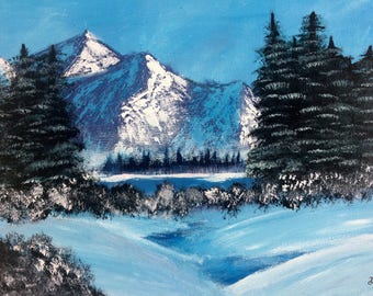 Winter Snow-Acrylic Nature Painting-16x20