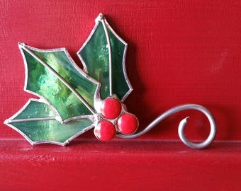 Holly Ornament Christmas Stained Glass