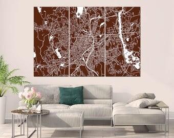Worcester Massachusetts, City Map, Large Canvas Print, Wall Art, Multi panel