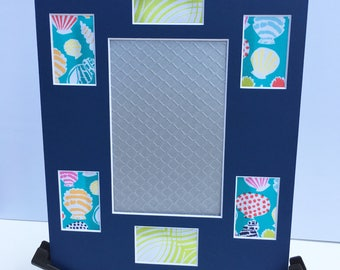 8x10 Bright blue pink orange green seashells fabric collage mat photo frame