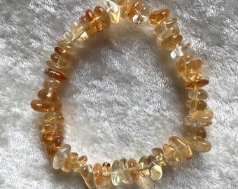 Natural Stone Citrine Smooth Chip Bracelets