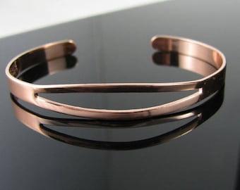 "7"" Adjustable Copper Bracelet with Cut-Out Design Top"