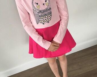Size 6 L/S Pink Owl Dress