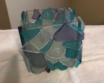 Square stained-glass candle votive