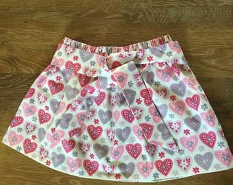 Love heart skirt, kids clothing, handmade, bespoke, age 5, girls clothing