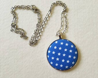 Blue Star Necklace. Cotton Covered Button Jewelry. Silver Chain Pendant. Chunky Jewelry. Pendant Necklace. White Star Field Blue Fabric