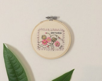 Ontario Postage Stamp Embroidery Wall Hanging