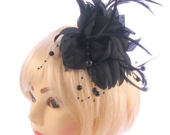Black fascinator with petals and hanging black beads, weddings, races, prom