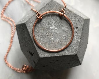 Copper Circle Necklace - Lunar Necklace