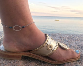 Beaded Anklet - Beaded Bar Anklet - Bar Anklet - Silver Anklet - Ankle Bracelet