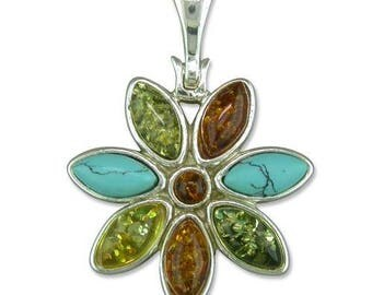 Turquoise With Mix Amber Flower Sterling Silver Pendant