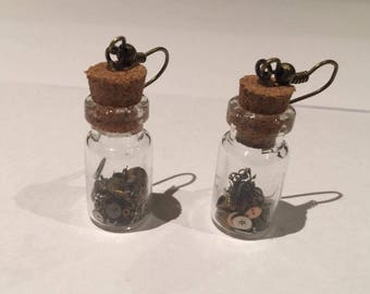 Steampunk Gears in Jar earrings