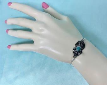 Bohemian Arm Bracelet, Native American Bracelet, Turquoise Tribal Bracelet, Navajo Turquoise Bracelet, Silver Tribal Bracelet