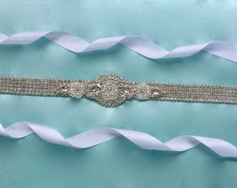 Silver Bridal Sash, Silver Wedding Sash, Silver Bridal Belt, Silver Wedding Belt, Bridal Gown Sash, Wedding Gown Sash, Wedding Gown Belt