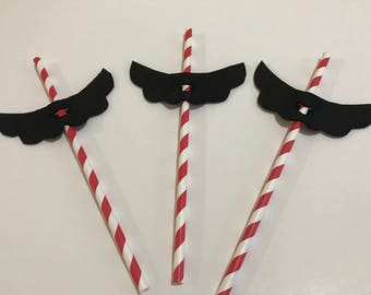 12 Mustache Straws | Mario Mustache Straws |  Mario Party Supplies | Mario Party Decor | Super Mario Birthday Straw | Mario Birthday Party