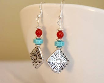 Silver plated and turquoise dangle earrings