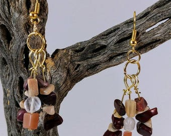 Agate, Moonstone, and Rose Quartz Earrings