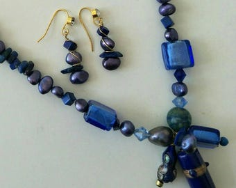 SOLD.       Lapis Lazuli, Chrysocolli, Fresh Water Pearl,  with glass and foil bead Neck lace and earring's