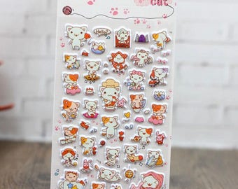 3D Little Cat Stickers, Cartoon Bubble Diary Decorative Stationery, Scrapbooking, Planner, Diary, Journal Stickers