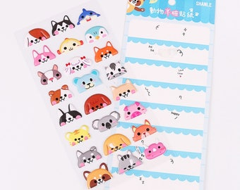 DIY Colorful Animal Half Face Kawaii 3D Stickers Diary Planner Journal Note Diary Paper Scrapbooking Sticker - Blue