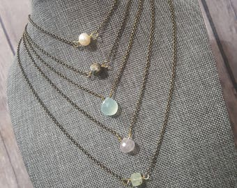 Drop Color Stone Necklace