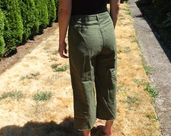 Raw Hem Vintage High Rise Army Style Pants 1970s