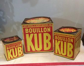 Vintage French BOULLON KUB Tins, French Vintage Tin Set, Bouillon Kub, Vintage Kitchen Tins, Rustic Decor, Country Kitchen, Industrial Decor
