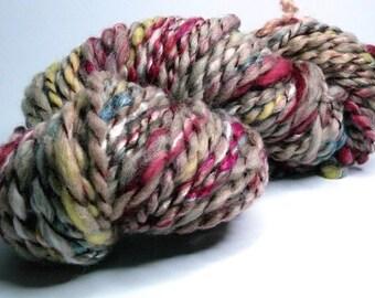 "Handspun textured art yarn ""Nonna"" for weaving, knitting, crocheting, felting, doll hair, sewing/embroidery"