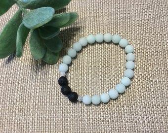 Blue Amazonite Essential Oil Bracelet, lava beads, silver
