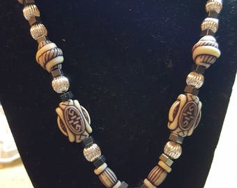 Aztec beaded white agate necklace