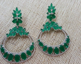 Silver Earring With Green Zirconia